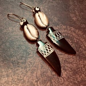 Cowrie Shell Etched African Horn Earrings